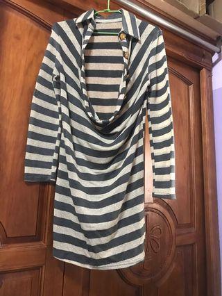 🚚 女神質感橫條洋裝 兼長版外套