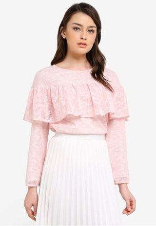 Zalia Lace Frill Top Blouse XL