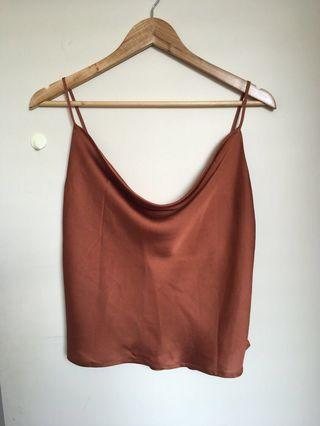 Universal store perfect strangers copper satin cowl neck top/cami