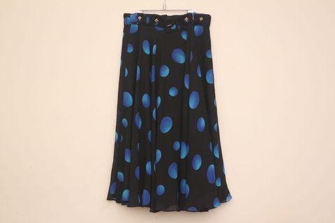 小仙女波浪雪紡長裙|水玉 波點 日本製 飄逸 高腰 有內裡 復古 古著 Vintage