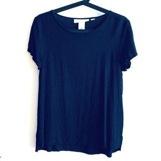Size 2 or S H&M Navy Dark Blue Short Sleeve Viscose Blouse Top @sunwalker