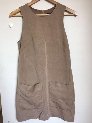 French Connection tan pinafore style a-like pocket dress