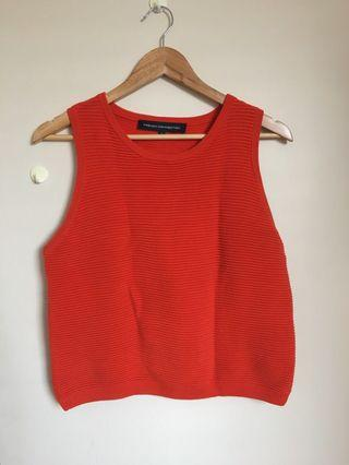 French connection orange/red sleeveless knit top/tank top sweater