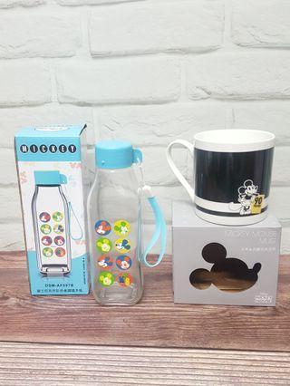 🚚 [全新兩件合售價]全新米奇冷熱變色馬克杯 330ml+[全新]米奇玻璃水壺410ml  迪士尼 #米奇系列 #