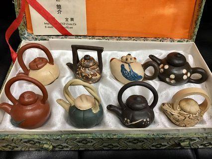 紫砂工藝迷你茶壺一套8件 [孫氏小品](R) #MTRtst