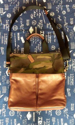 COACH CHARLES GREEN CAMOUFLAGE FOLDOVER TOTE.