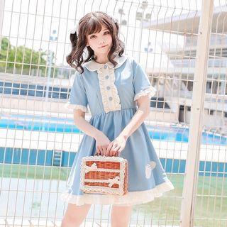 日系少女可愛淺藍色海豹連衣裙