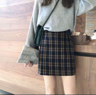 Instock Yellow and Blue Plaid Skirt