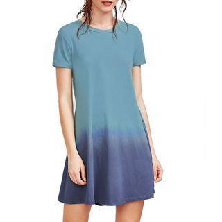 Two Tone Blue Tie Dye Dress Short Sleeve
