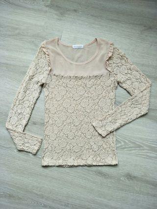 韓版裸粉色玫瑰植絨蕾絲上衣