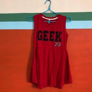 red geek flared sleeveless skater dress
