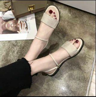 全新米色女神鞋涼鞋沙灘鞋sandals