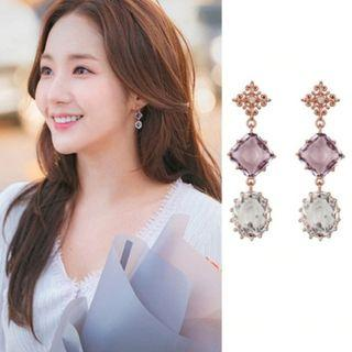 My Private Life Korean Drama Sweet Crystal Drop Down Earrings - New