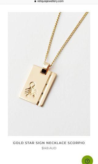 Reliquia gold pendant Scorpio starsign necklace