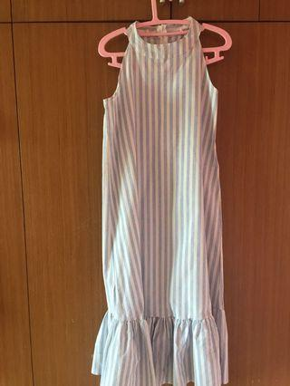 Vertical blue and white stripe ruffle dress