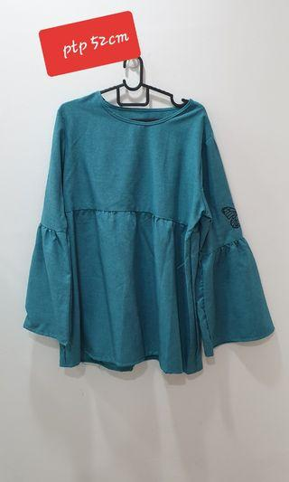 Turqoise blouse peplum