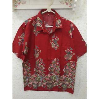 Kemeja Batik Pria Merah Katun - Preloved Murah!