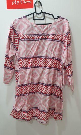 Aztec pink top baju kurung