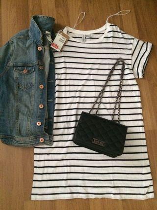 H&M Striped T Shirt Dress