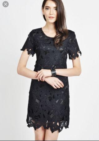 LAB Ethel Crochet Lace Black Dress