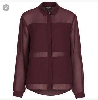 Topshop multi panel purple shirt
