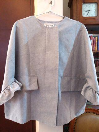 Grey rimple oversized blouse