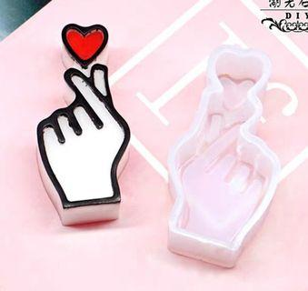 Silicon mold  - hand with heart
