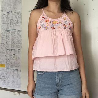 Embroidered Pink Halter top