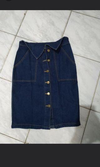Rok Jeans Navy S