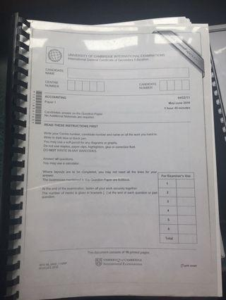 IGCSE Accounting Past Year Papers P1&2
