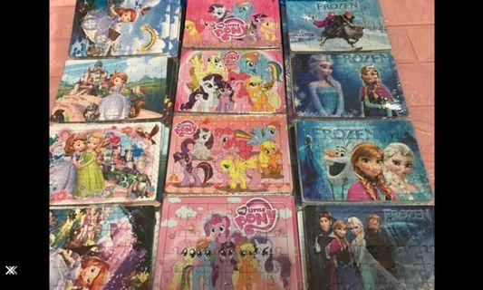 Instock mini kids puzzle brand new size ht 10cm wt 13cm (30pcs) Sofia/frozen/pony/ Thomas/ McQueen /minions / robocar polo /princess /hello kitty .. min order 10pcs above