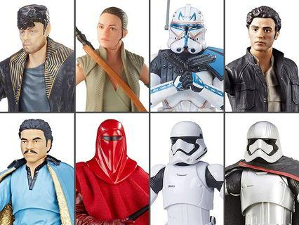 Star Wars Black Series 6 Inch wave 26 set of 8: Rey (island journey) Imperial Guard lando calrissian first order stormtrooper Captain Poe Dameron Phasma rex DJ