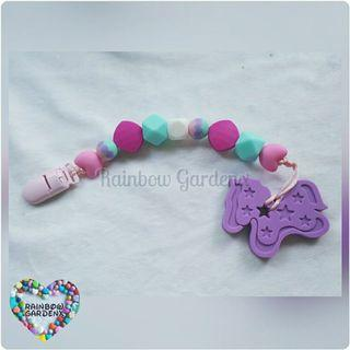 Handmade customised Silicone beads Pacifier Clip + Purple pony teether