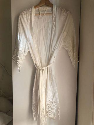 Boho white robe
