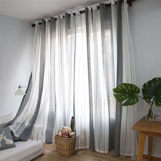 2pcs/set Black stripe sheer translucent curtain drape panel