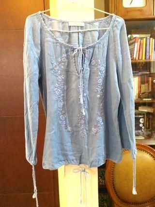 Soft blue embroidery boho blouse