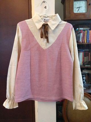 Korean pink ribbon blouse