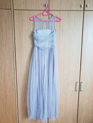 Grey Tulle Bridesmaid Dress