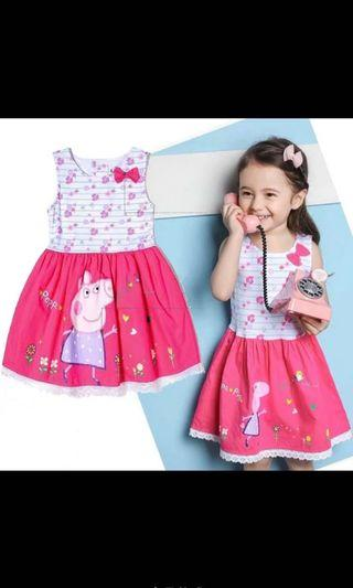 Instock now!! Authentic peppa pig dress gd quality ideal for party birthday dress size 100/110/130cm brand new