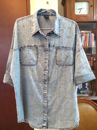 Pearl blue denim oversized blouse