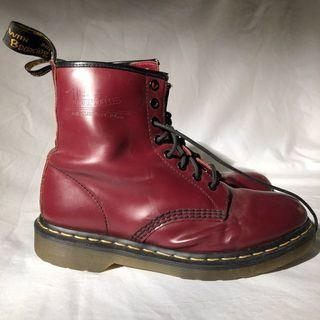 Maroon Dr Martens 8 hole boots