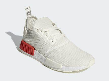 Adidas NMD R1 White with Red Block Heel