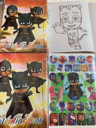 🚚 Instock new design pj mask A4 Coloring And Stickers book -$4 .. take set w. Crayon is $4.90