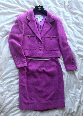 Chanel Jacket with skirt set in prink color