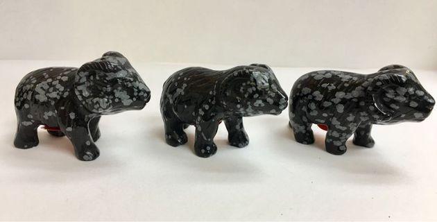 """天然石2""""山羊雕刻擺設合共3件 #MTRtst"""