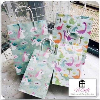 🚚 [PS] 10pcs/pack Small/Medium Size Unicorn Dinosaur Goodie Paper Bags