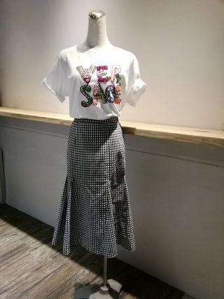 🚚 全新korea 黑白格紋裙