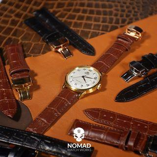 Genuine Leather Strap with Butterfly Deployant Clasp (Available in black and brown leather in 18mm, 20mm and 22mm)