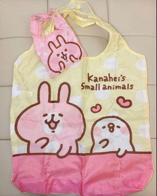 Kanahei's Small Animals Eco Friendly Foldable Reusable Shopping Bag with Small Pouch (Pink Rabbit) 卡娜赫拉的小動物