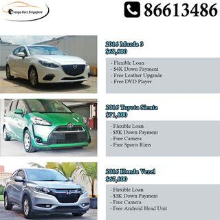 Low Down Payment Cars For Sale - Vezel, Sienta, Mazda 3, Jetta, Shuttle